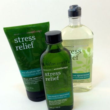 New Bath & Body Works Gift Set Stress Relief Body Scrub Shower Gel Massage Oil