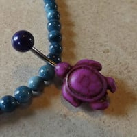 Purple Turtle Belly Ring Navel Ring Belly Ring Body Jewelry