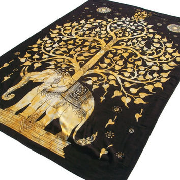 Twin tree elephant Mandala Tapestry yellow Single Indian Wall Hanging Bohemian Hippie boho bohomien Bedspread Throw home Decor