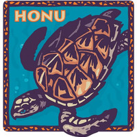 Honu, Hawaii Sea Turtle - Hawaiian Art Decal - Car Window Bumper Sticker