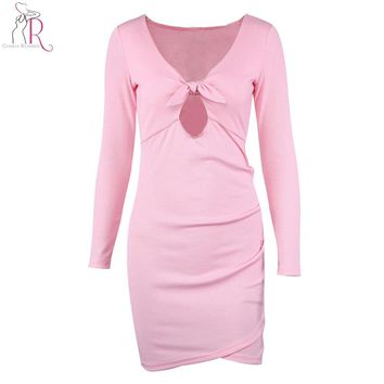Pink Bodycon Mini Dress Plunge Knot Front Hollow Out Long Sleeve V Neck Silm Skinny Warp Sexy Club Wear