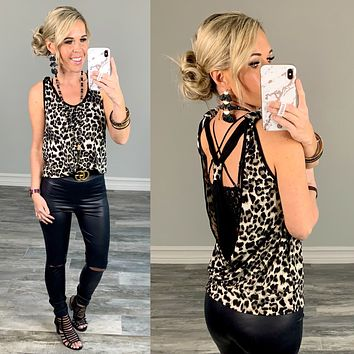 Staying Sassy Leopard Open Back Top
