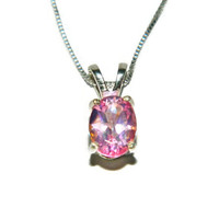 Pink Topaz Necklace, Sterling Silver Chain