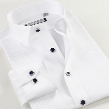 Smartfive Men's Long Sleeve Shirts Slim Fit White Tuxedos For Men Camiseta Masculina Solid Shirt Brand Clothing