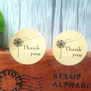 100PCS Thank you Self-Adhesive with trees  Kraft Baking sealing Stickers Gift sticker Label Round Labels FOR DIY Paper Bag