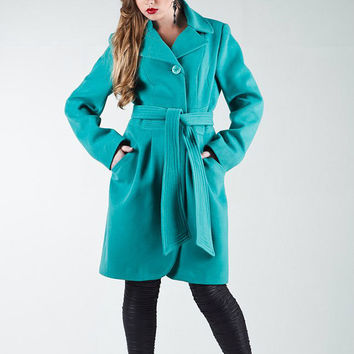Blue wool Coat for Woman,Long Jacket Spring Autumn ,classic trench Coat Casual Smart.