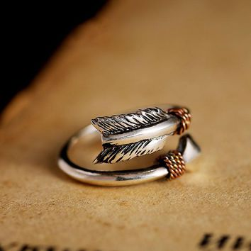 STERLING SILVER VINTAGE RETRO SMALL OPENING CUPID'S ARROWS LOVE RING WOMEN MEN STEAMPUNK COOL