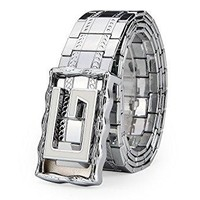 Bengma Mens Metal Belt with G Letter Head, Slide Pin Buckle