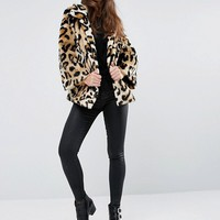 ASOS Swing Coat in Leopard Faux Fur at asos.com