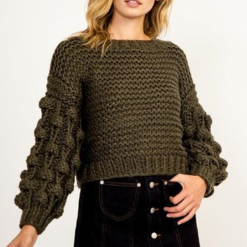 Holding It Down Long Sleeve Pom Pom Round Neck Chunky Pullover Sweater - 3 Colors Available