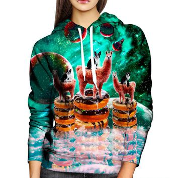 Llama Frenchie Donuts Womens Hoodie