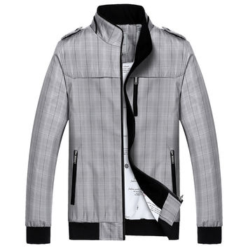 Casual Autumn Double-layered Stylish Slim Plaid Jacket [8971057667]