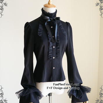 A Midsummer Night's Dream, Gothic Elegant Frilly Stand Collar Puffy Long Sleeves Blouse*Instant Shipping