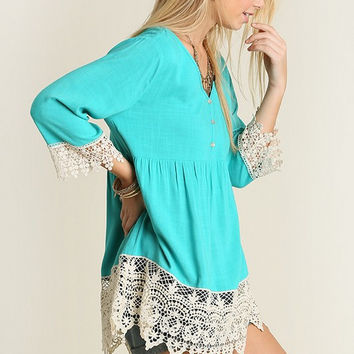 Boho Style Lace Top - Mint