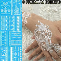 GIFT!! Tastto 8 Sheets Henna Body Paints Jewelry Temporary Tattoos White Lace Stickers for Girls and Women with GIFT