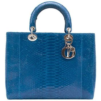 Lady Dior Electric Blue Python Tote Bag