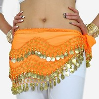 BELLYLADY Chiffon Dangling Gold Coins Belly Dance Hip Scarf, Vogue Style