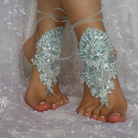 Soft aqua blue beaded sequined bridal barefoot sandal