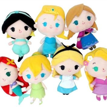 Cute Tangled Rapunzel Tinkerbell Aladdin Jasmine Alice in Wonderland Ariel Princess Dolls Plush Toys for Girls Christmas Gifts