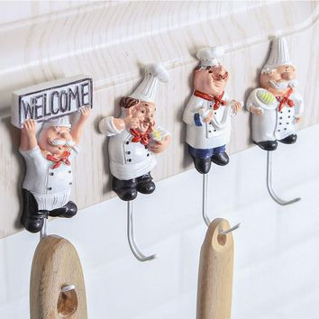 1 PCS Kitchen Cartoon Chef Style Resin Power Cord Storage Rack Wall Hanger Cloth Towel Hooks Sticky Seamless Paste Tight Holder