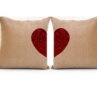 Two hearts Beat As One - Two heart Burlap Pillow - Sequin Throw Pillow