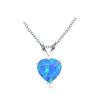 Sterling Silver Created Blue Opal 7mm Heart Solitaire Necklace