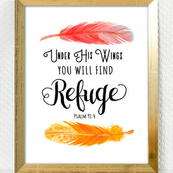 You Will Find Refuge - Digital Download, Printable Quote, Inspiring Art, typography design, Scripture Art, Bible Verse, feather, calligraphy