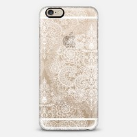Crystal White Vintage Lace on Transparent iPhone 6 case by Micklyn Le Feuvre | Casetify