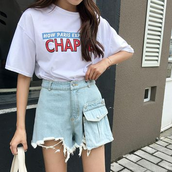 Summer Removable Pocket Ripped Denim Shorts Women Fashion Fringed Hem Jeans Short Hot Shorts High Waist Women Bottoms 2018