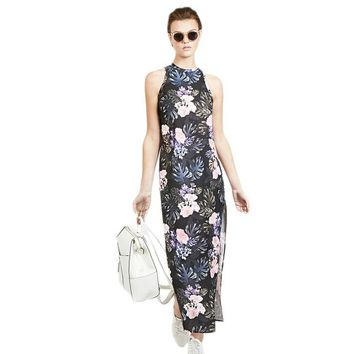 Women Multi Floral Printed Dresses Sleeveless Hollow Out Back One Button  Elegant Sexy
