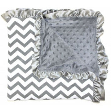 Silver and White Minky Chevron Ruffled Baby Blanket
