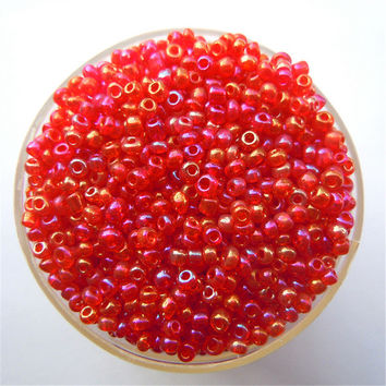 Free Shipping Bright Red Ab Color 1000Pcs 2mm Czech Glass Seed Spacer Beads Jewelry Making DIY Pick 46 Colors