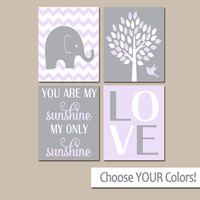LILAC Gray Nursery, Girl Elephant Nursery Decor, Baby Girl Nursery Decor, Girl Bedroom Pictures, CANVAS or Prints Sunshine Quote Set of 4