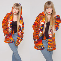 Vintage 80s ETHNIC Hippie Sweater Orange SUN GOD Ecuador Wool Space Dye Knit Hoodie Jacket