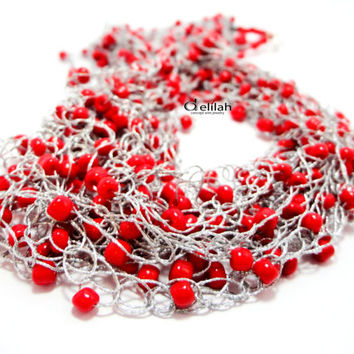 Silver Grey and Red Beads Necklace, Silk Necklace, Crochet Necklace, Red Necklace, Crocheted Necklace