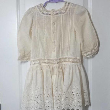 Antique Victorian Girl's Ivory Dress, Eyelet & Embroidered Lace, Pin Tucks, All Cotton, Lace Covered Buttons, Vintage Victorian Clothing