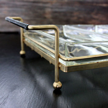 mid century metal and glass divided server // wire condiment caddy relish tray