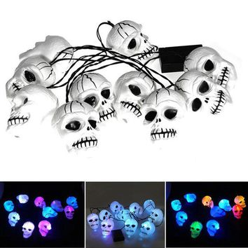 CREYET7 High quality Modern style Halloween Skull 10-Head Bone String LED Light Lamp Set Decoration Colorful Bulb