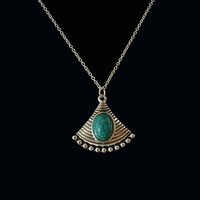 Green Resin and Silver Tone Fan Shape Tibet Style Pendant Necklace