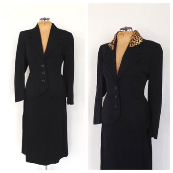 Vintage 1940s Suit Travel Suit Blazer Jacket Pencil Skirt Two Piece Set Navy Blue Wool 40s Hand Tailored Fall Outfit Classic 40s Womens Suit