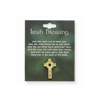 Celtic Cross with Green Stone Lapel Pin - Perfect Irish Gift