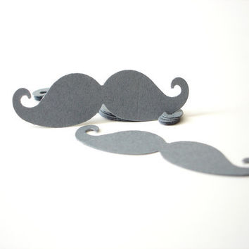 50 Dark Grey Mustache die cuts, confetti, mustache baby shower, party supplies,  gift tags, DIY photo booth props - No636