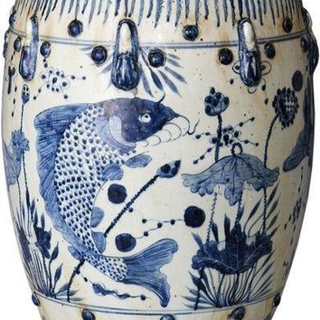 Blue & White Garden Stool Fish Motif