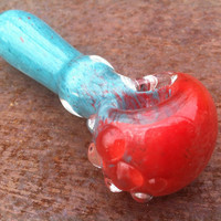 Glass pipe- turquoise and cherry red