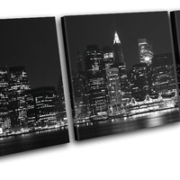 New York NYC Skyline City TREBLE CANVAS WALL ART Picture Print VA