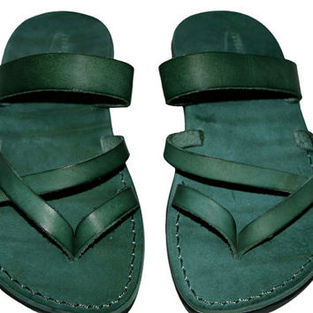Green Moon Leather Sandals