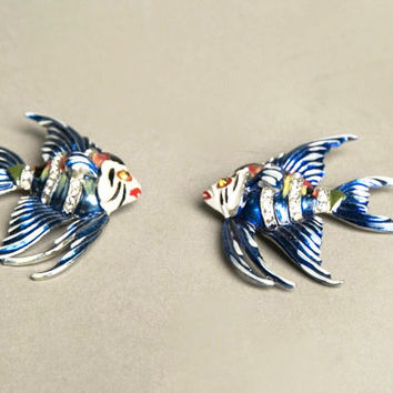 Fur Pin Set 2 Brooches Fish Novelty Vintage Jewelry