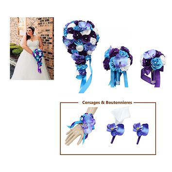 Tropical Wedding - Malibu Turquoise Blue Purple Lavender Rose and Orchid Set