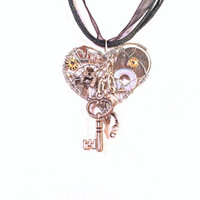 Small Heart And Key Steampunk Pendant