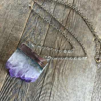 Amethyst Crystal Slice Necklace Rough Amethyst Spiritual Healing Raw Crystal Healing Crystals and Stones Bohemian Necklace Yoga Hippie Gypsy